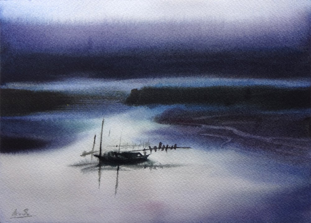 """Fisherman's Evening"" original fine art by Arena Shawn"