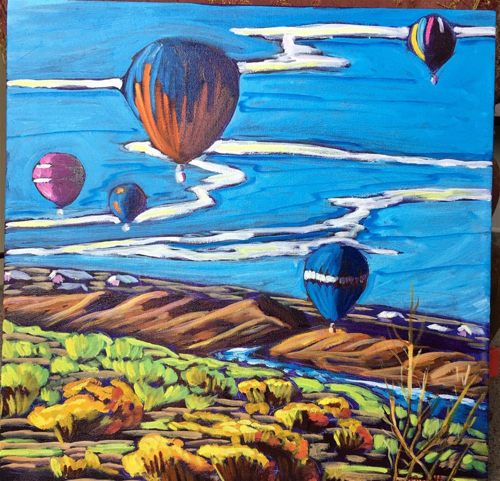 """Balloons over west side Albuquerque"" original fine art by Robyn Wellman"