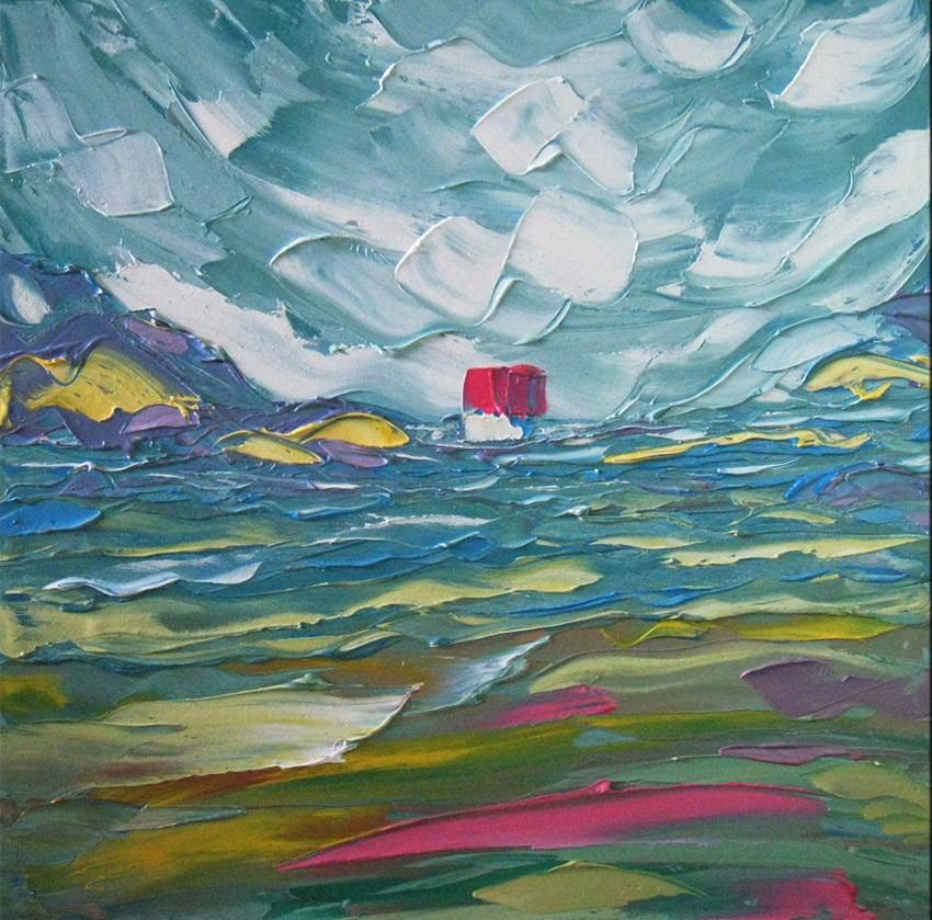 """Cabin in the mountains"" original fine art by Elena Lunetskaya"