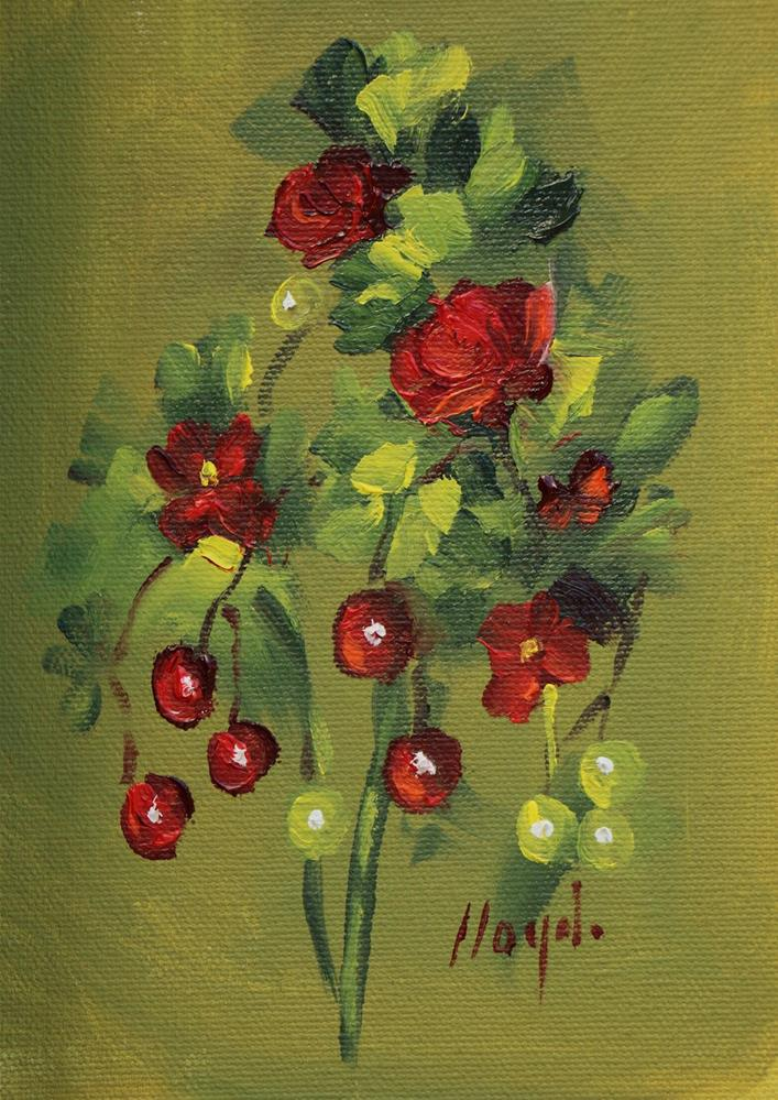 """Flowers and Berries"" original fine art by Diane Lloyd"