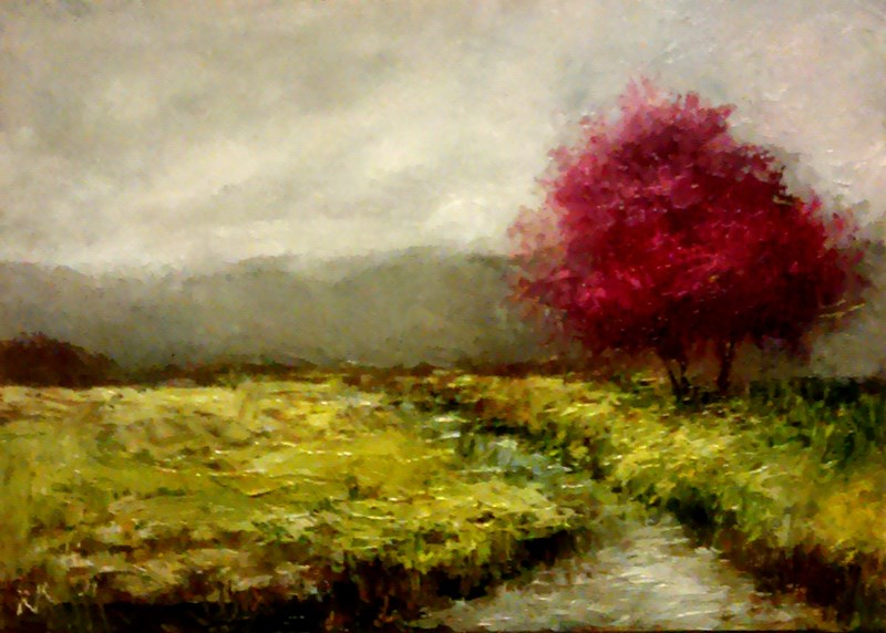 """Red Trees by the Stream"" original fine art by Bob Kimball"