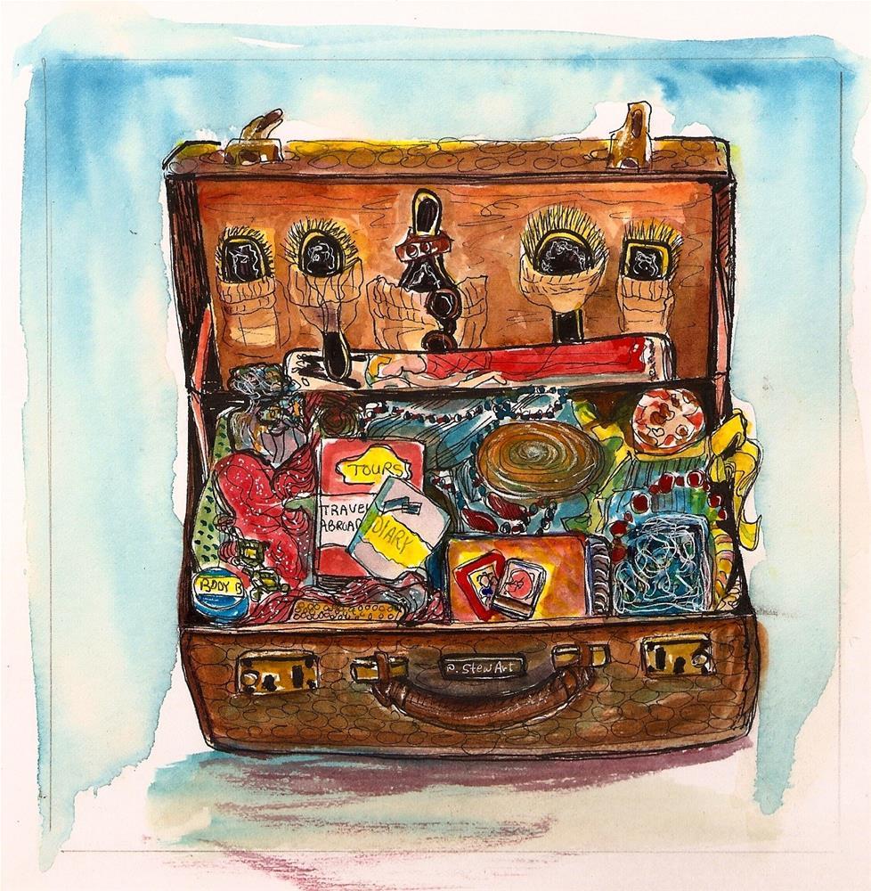 """6x6 Open Suitcase Retro All Packed Vacation WC & Pen, Original SFA Penny StewArt"" original fine art by Penny Lee StewArt"