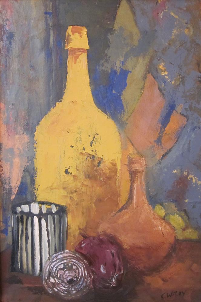 """Onions and Painted Bottles"" original fine art by Carol Wiley"