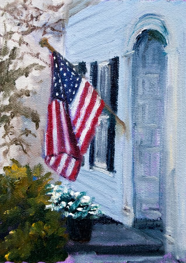 """KM2819 Old Glory (7x5 original oil urban landscape)"" original fine art by Kit Hevron Mahoney"