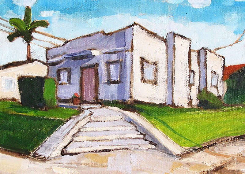 """Art Deco House in Hillcrest- San Diego Painting"" original fine art by Kevin Inman"