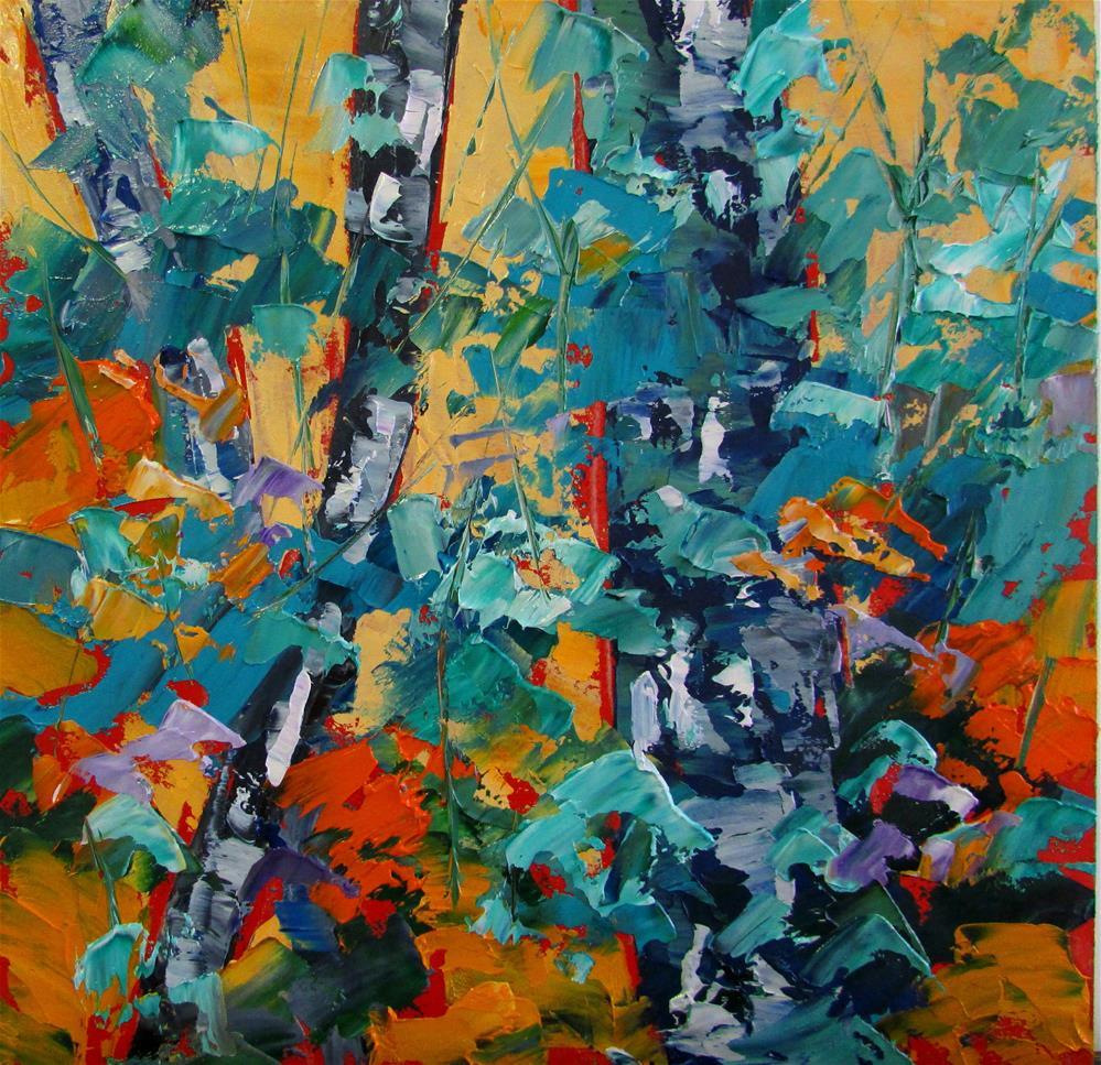 """""""8 x 8 inch oil Little Birches #6"""" original fine art by Linda Yurgensen"""