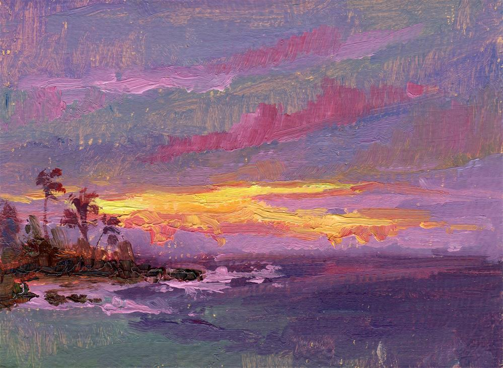 """MAUI SUNRISE CURTAIN RISE"" original fine art by Karen E Lewis"