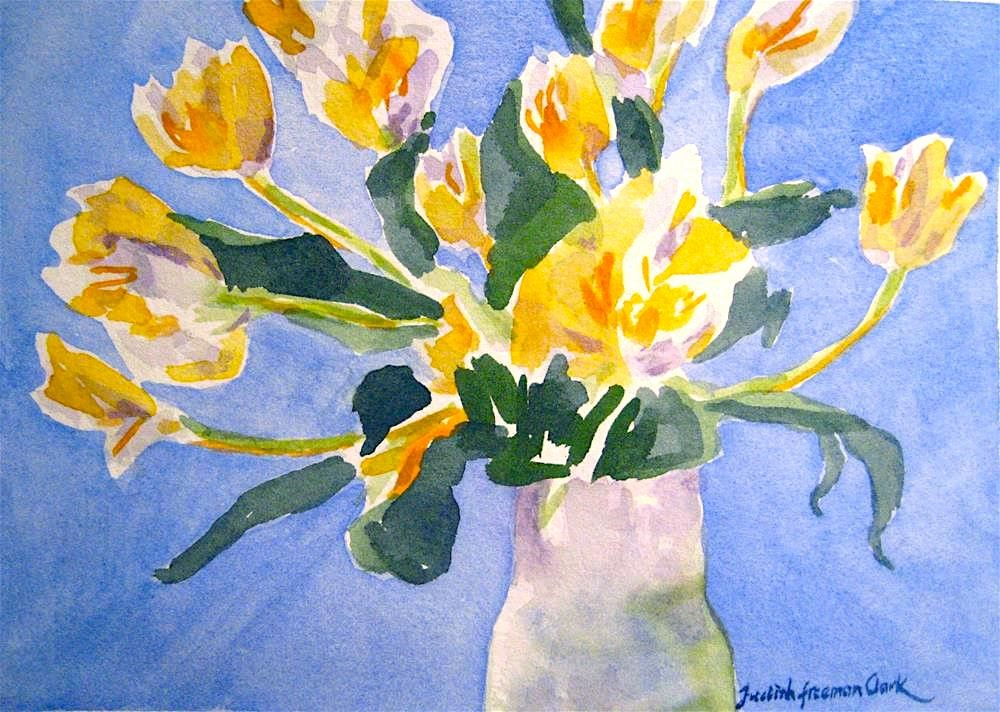 """Tulips on Blue, study"" original fine art by Judith Freeman Clark"