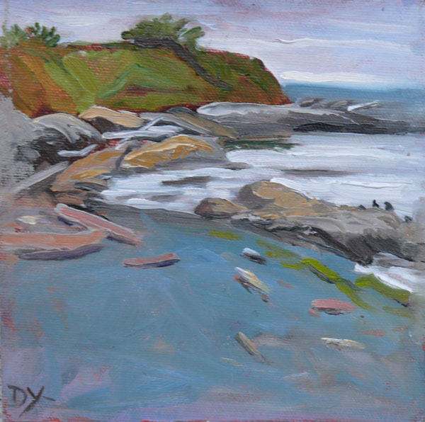 """Towards Holland Point, oil on canvas panel, 6x6"" original fine art by Darlene Young"