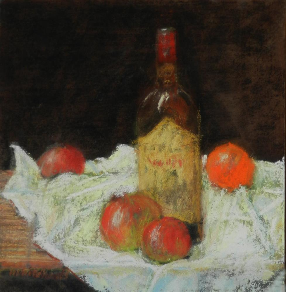 """Bottle and Apples"" original fine art by Merrill Whitehead"
