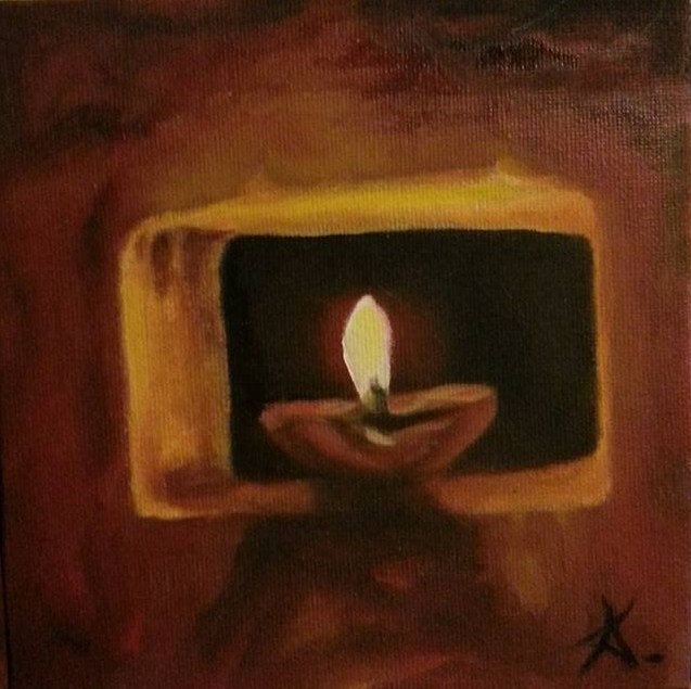 """the flame 70"" original fine art by Konstantia Karletsa"
