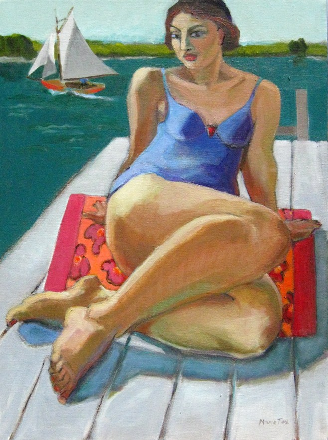 """On The Dock, figurative painting, figure in art, contemporary figurative artist, woman, paintings of"" original fine art by Marie Fox"