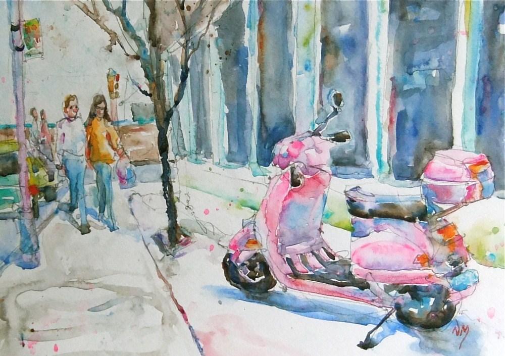 """Pink Vespa"" original fine art by Nora MacPhail"