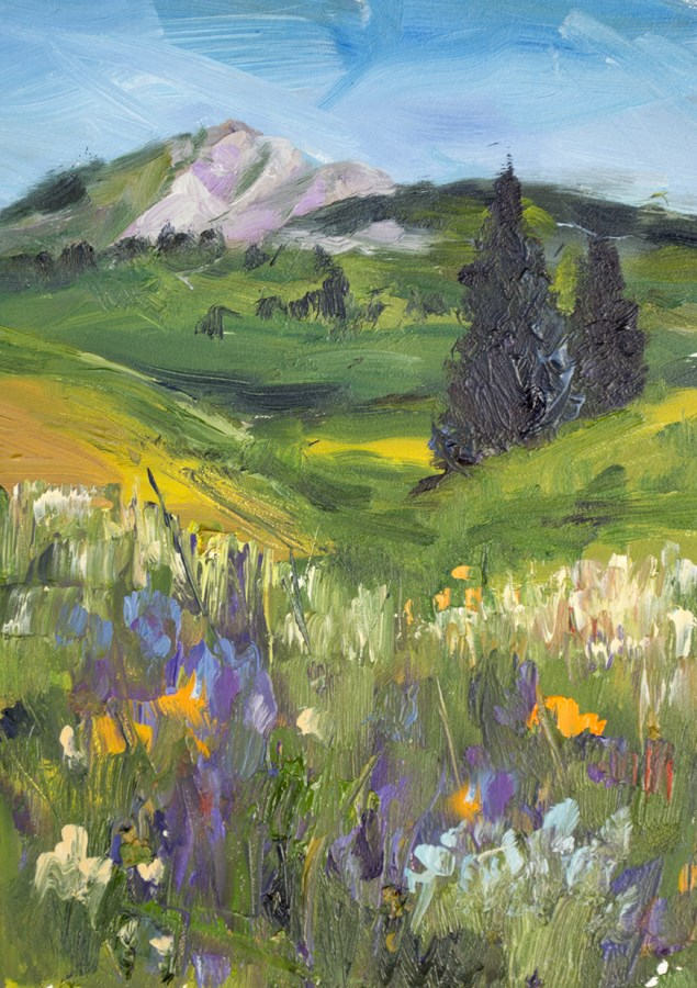 """KMD2883 Lush July by Colorado artist Kit Hevron Mahoney (7x5 original oil landscape, Colorado vista)"" original fine art by Kit Hevron Mahoney"
