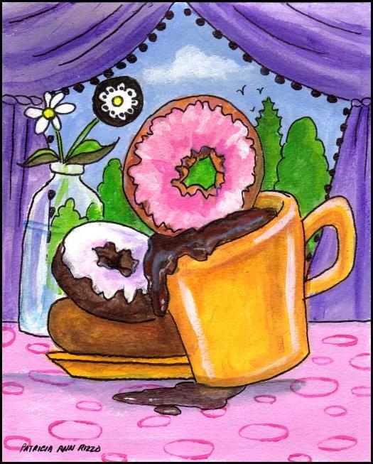 """Dunking Donuts"" original fine art by Patricia Ann Rizzo"
