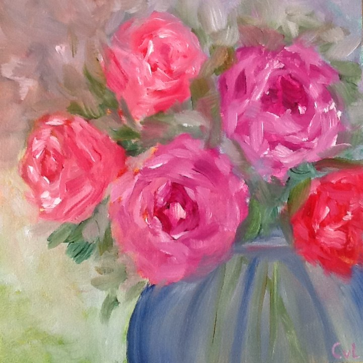 """Bouquet of roses"" original fine art by Conny van Leeuwen"