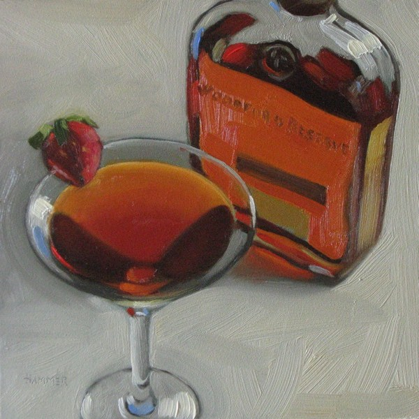 """Bourbonball 6x6 oil"" original fine art by Claudia Hammer"