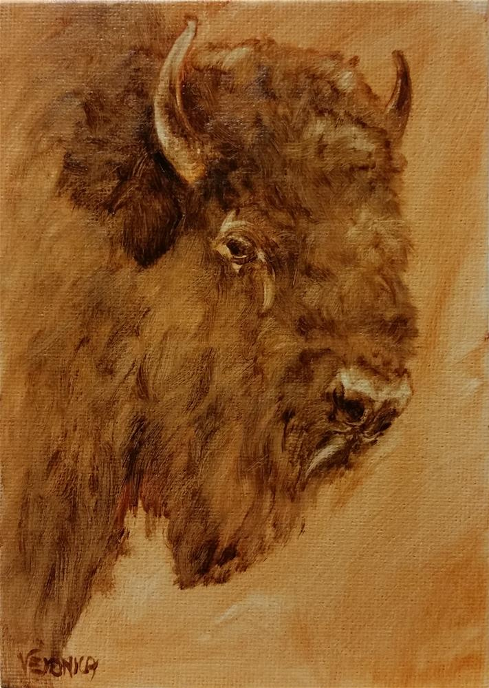 """Buffalo"" original fine art by Veronica Brown"