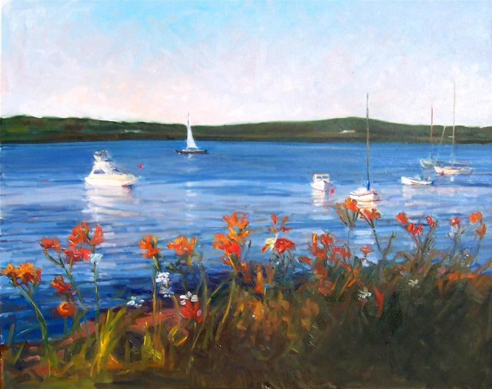 """Daylily Safe Harbor,seascape,oil on canvas,24x30,priceNFS"" original fine art by Joy Olney"