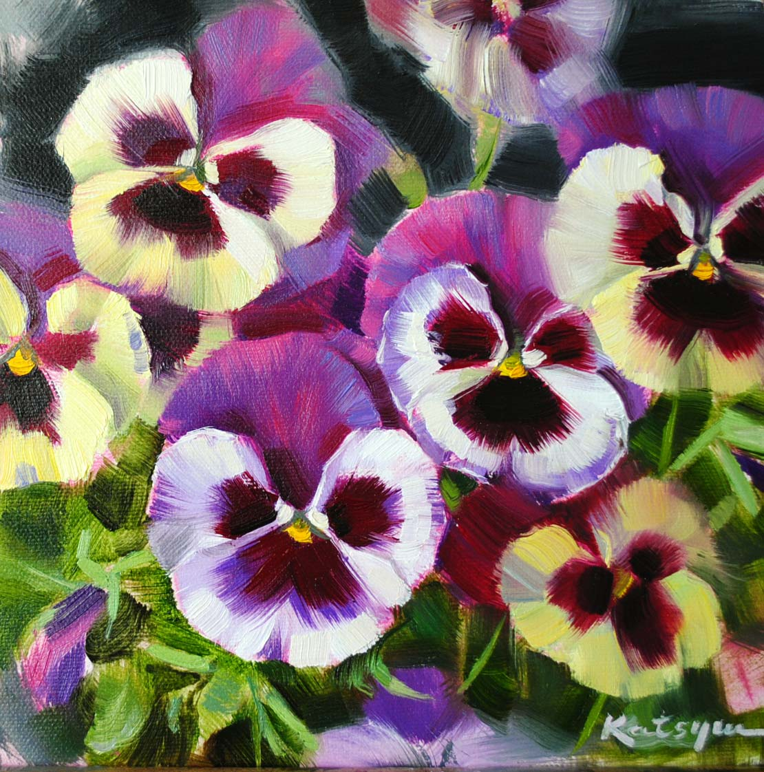 """Pansies"" original fine art by Elena Katsyura"