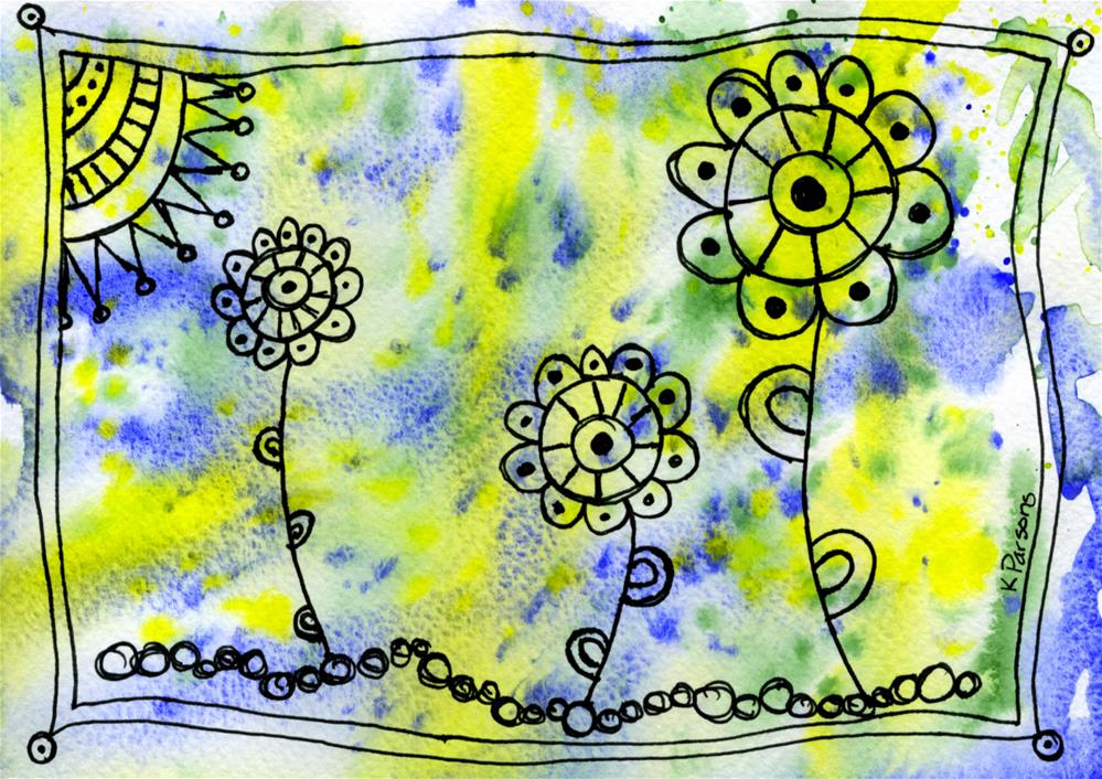 """Doodle Flowers and Sun"" original fine art by Kali Parsons"