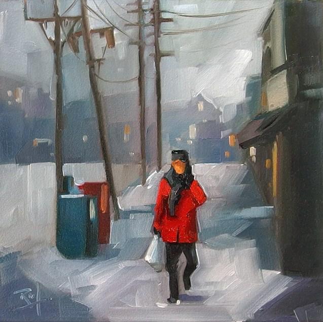 """No 812 Winter Walk Home"" original fine art by Robin J Mitchell"