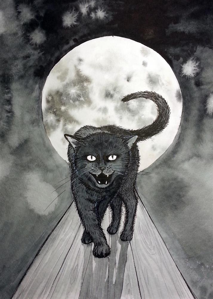 """Black Cat Full Moon Happy Halloween"" original fine art by Olga Beliaeva"