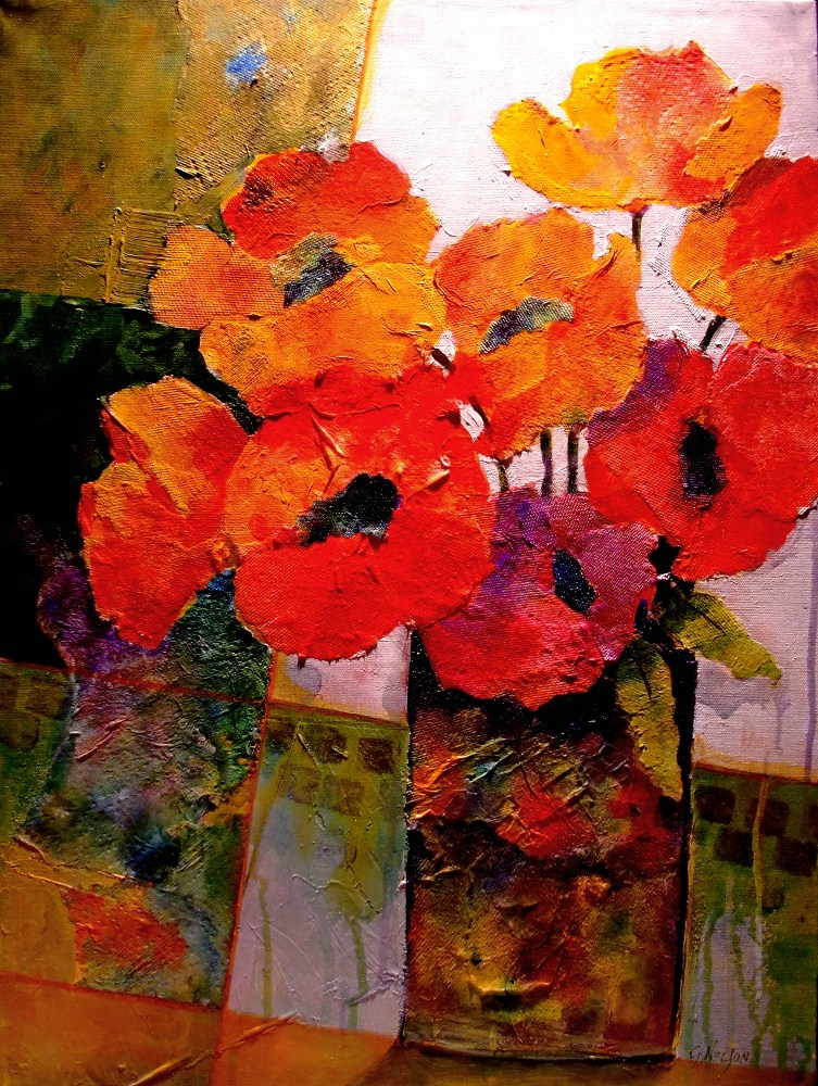 """ORANGE DREAM 12053, mixed media flowers red poppies © Carol Nelson Fine Art"" original fine art by Carol Nelson"