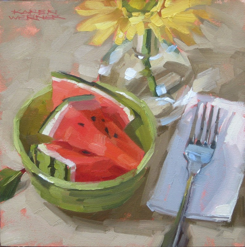 """Watermelon Wedges"" original fine art by Karen Werner"