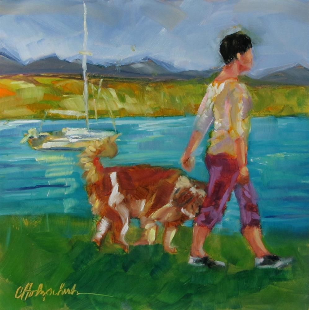 """""""Happy As a Sailor, Just Me and My Dog"""" original fine art by Christine Holzschuh"""