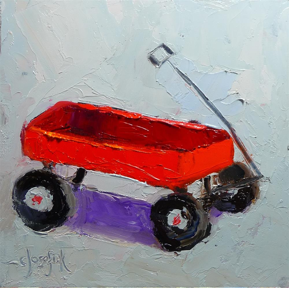 """Little red wagon"" original fine art by Carol Josefiak"
