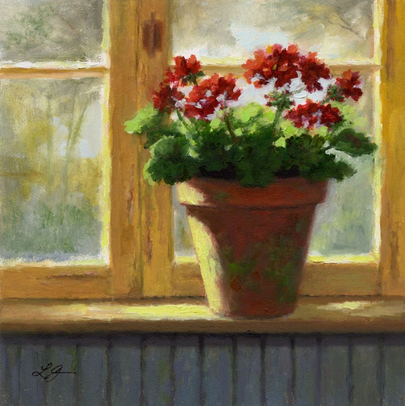 """Geraniums in the Cottage Window"" original fine art by Linda Jacobus"