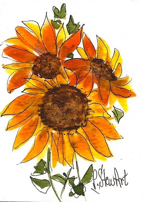 """Sunflowers ACEO Illustration Watercolor Pen Painting Original SFA Penny StewArt"" original fine art by Penny Lee StewArt"