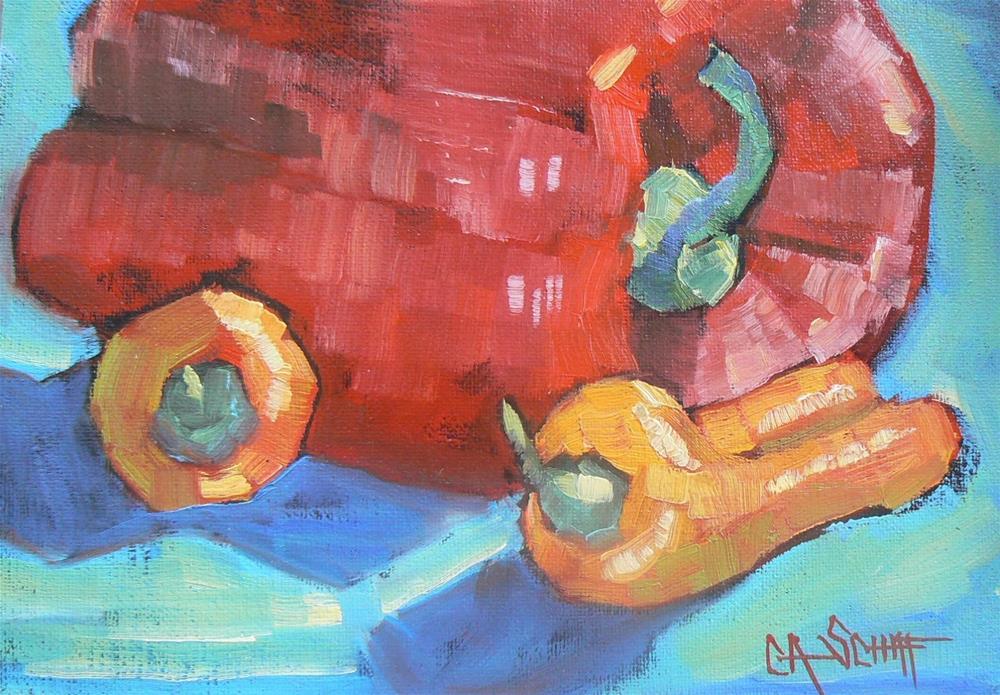 """""""WILD AND WACKY WEDNESDAY BIG RED 5x7 oil"""" original fine art by Carol Schiff"""