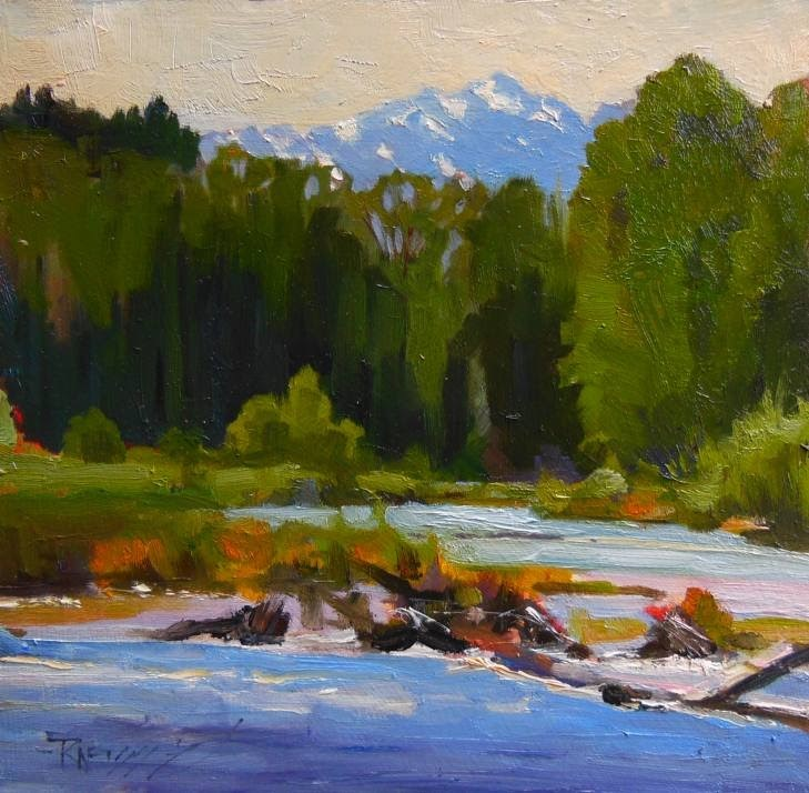 """Dosewallips River and The Brothers landscape , plein air painting by Robin Weiss"" original fine art by Robin Weiss"
