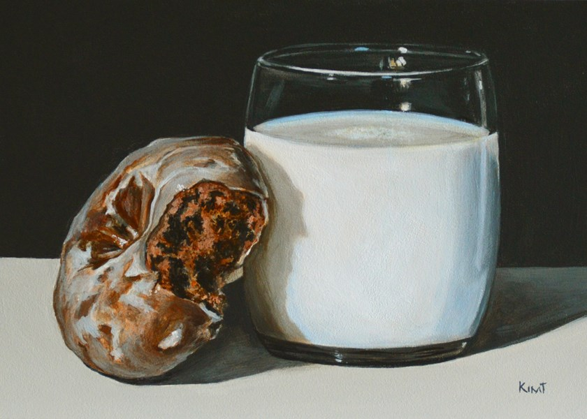 """Glazed Chocolate Donut and Milk"" original fine art by Kim Testone"