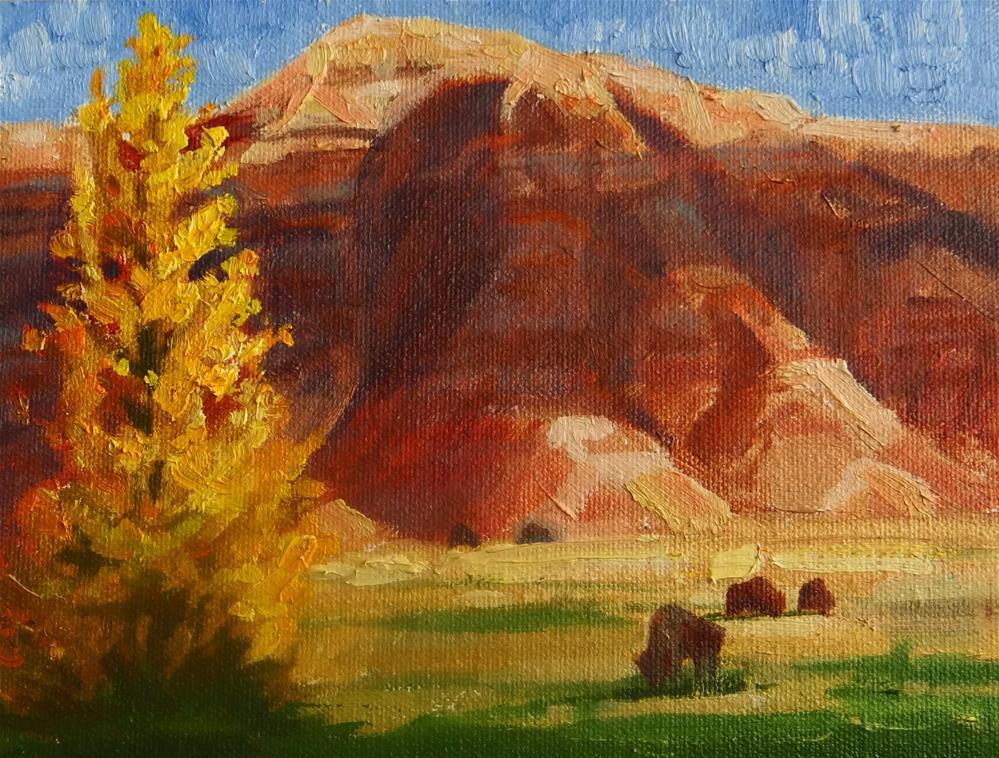 """Badlands and Bison"" original fine art by Nancy Paris Pruden"