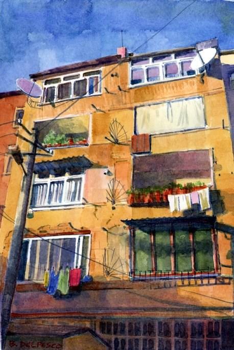 """""""Watercolor Paintings: Albanian Apartments"""" original fine art by Belinda Del Pesco"""