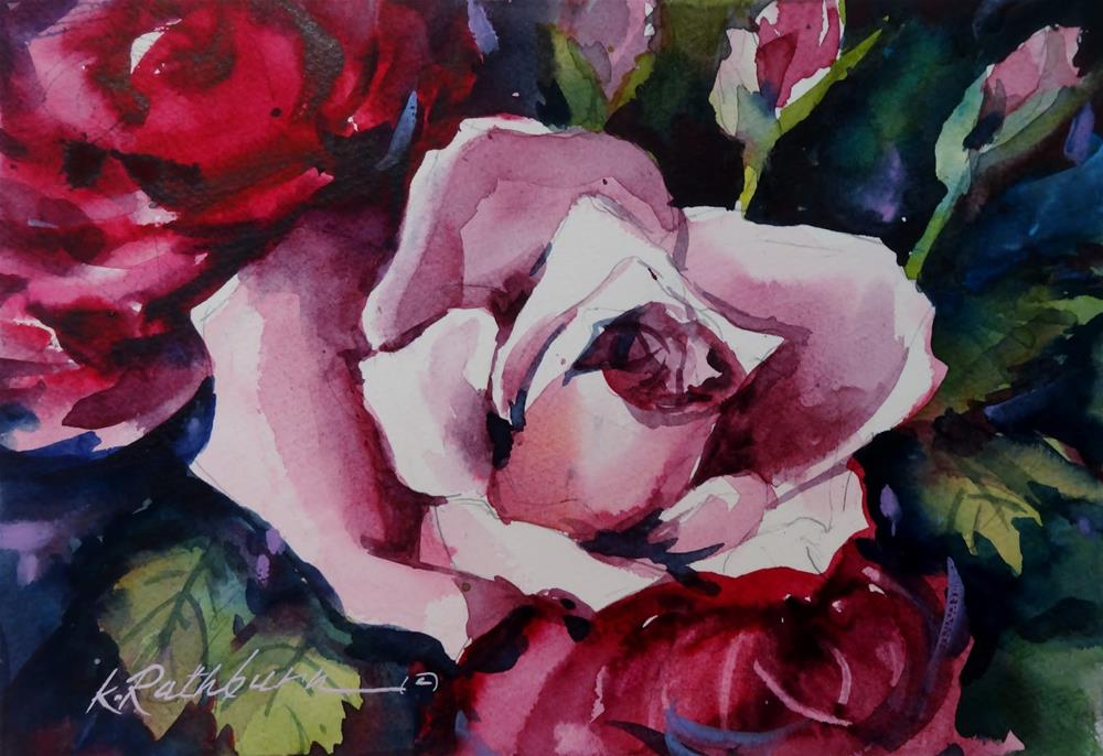 """Pink Rose - class demo"" original fine art by Kathy Los-Rathburn"