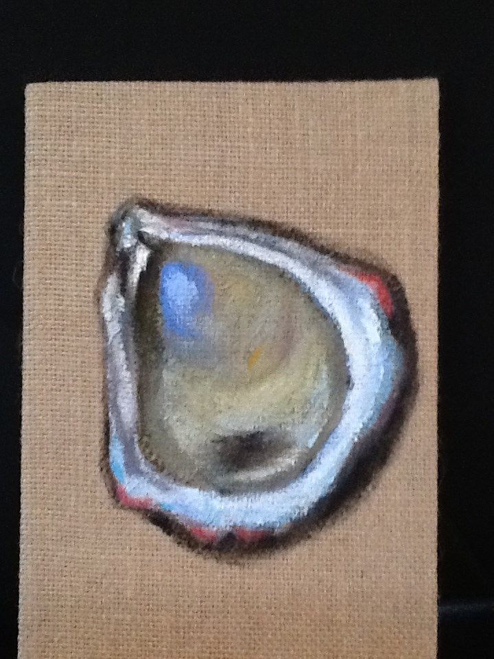 """5x7 Oyster #2"" original fine art by Charlotte Bankhead Hedrick"