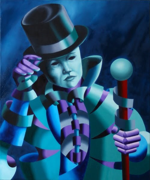 """Mark Webster - Mask of the Magician - Abstract Geometric Futurist Figurative Oil Painting"" original fine art by Mark Webster"