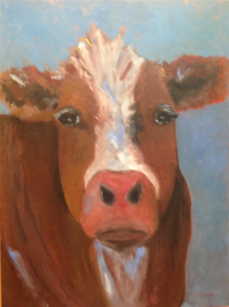 """Moo"" original fine art by Lorraine Funk"