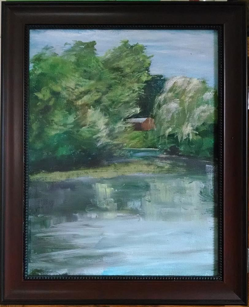 """Windy Day - Saxonville Pond"" original fine art by Dave Gehman"