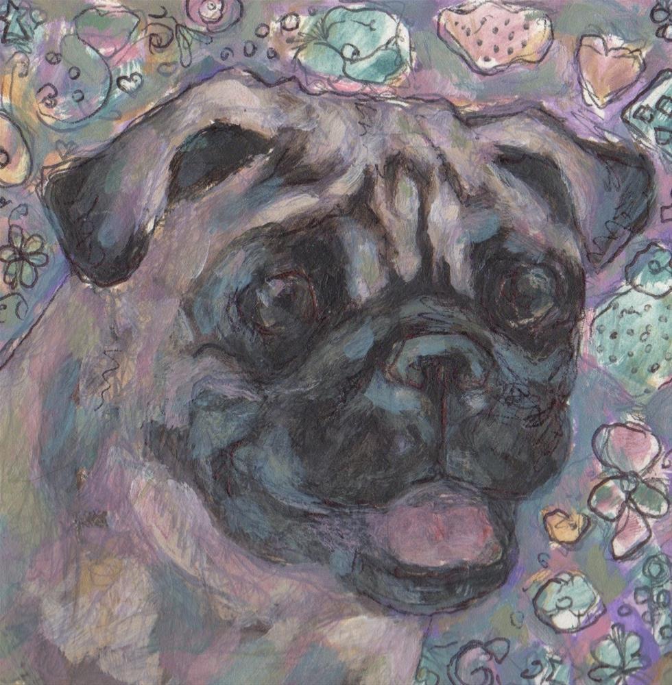 """Pug"" original fine art by Kathy Hiserman"