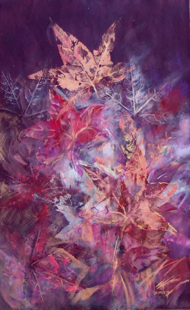 """Framed Copper Leaves"" original fine art by Lynne Schulte"