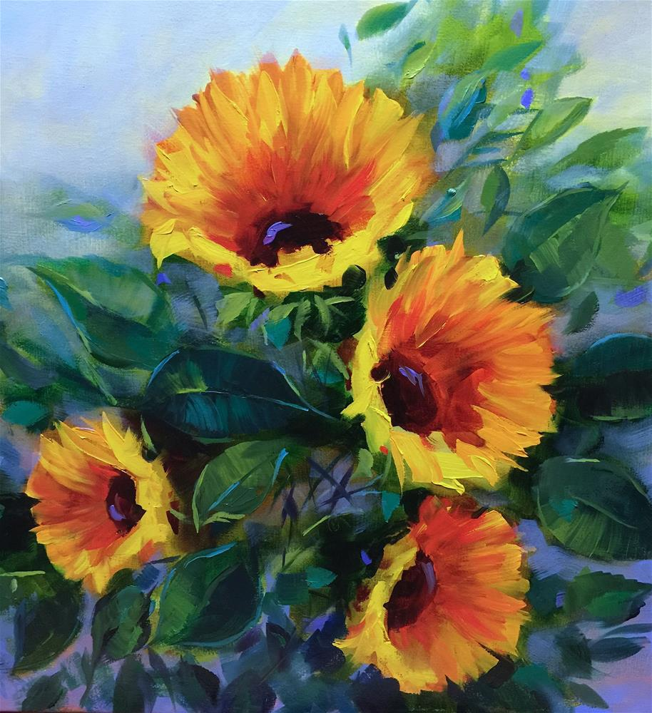 """Search for Summer Sunflowers - Nancy Medina Art Videos and Classes"" original fine art by Nancy Medina"