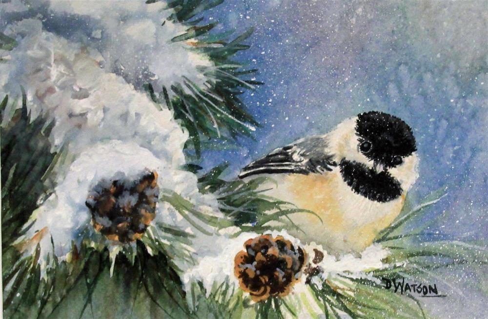 """Chickadee and Pinecones"" original fine art by Deb Watson"