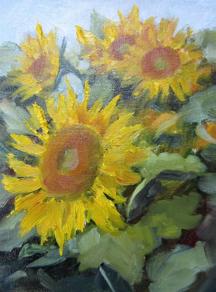 """Sunflowers in the Field"" original fine art by Pat Fiorello"