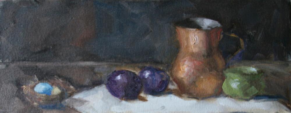 """Study for copper with plums"" original fine art by Carol Josefiak"