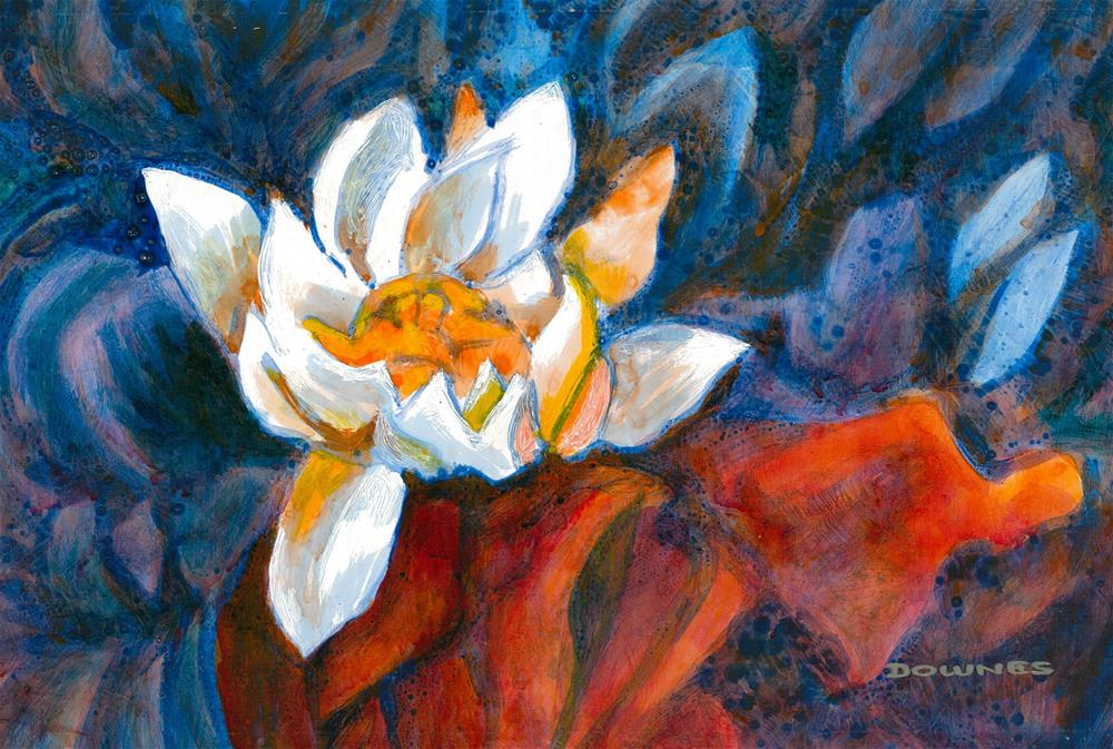 """073 WATERLILLY 6"" original fine art by Trevor Downes"